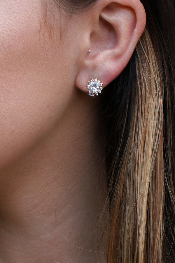 Gold Shining Glory Crystal Stud Earrings - Madison + Mallory