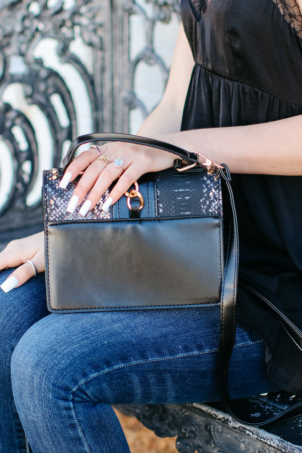 Audra Studded Snake Print Crossbody Bag - Black - Madison + Mallory