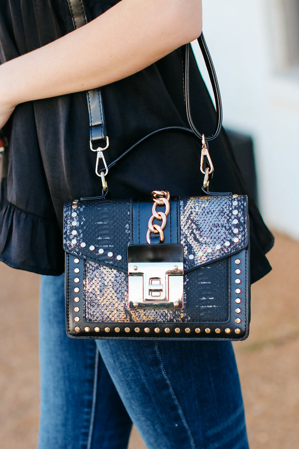 Black Audra Studded Snake Print Crossbody Bag - Black - Madison and Mallory