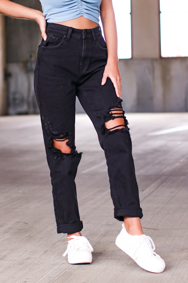 Plot Thickens Distressed Boyfriend Jeans - Madison and Mallory