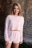 S / Pink Striped Soft Knit Boat Neck Top - Madison + Mallory