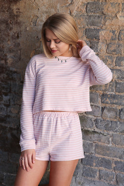 S / Pink Striped Soft Knit Shorts - Madison + Mallory