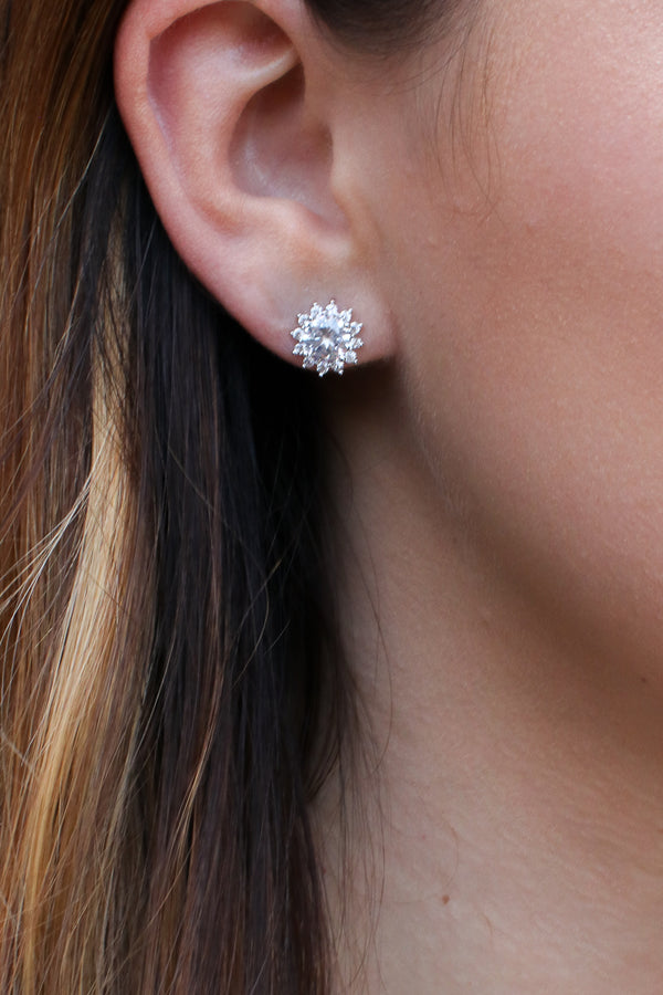 Silver Shining Glory Crystal Stud Earrings - Madison + Mallory