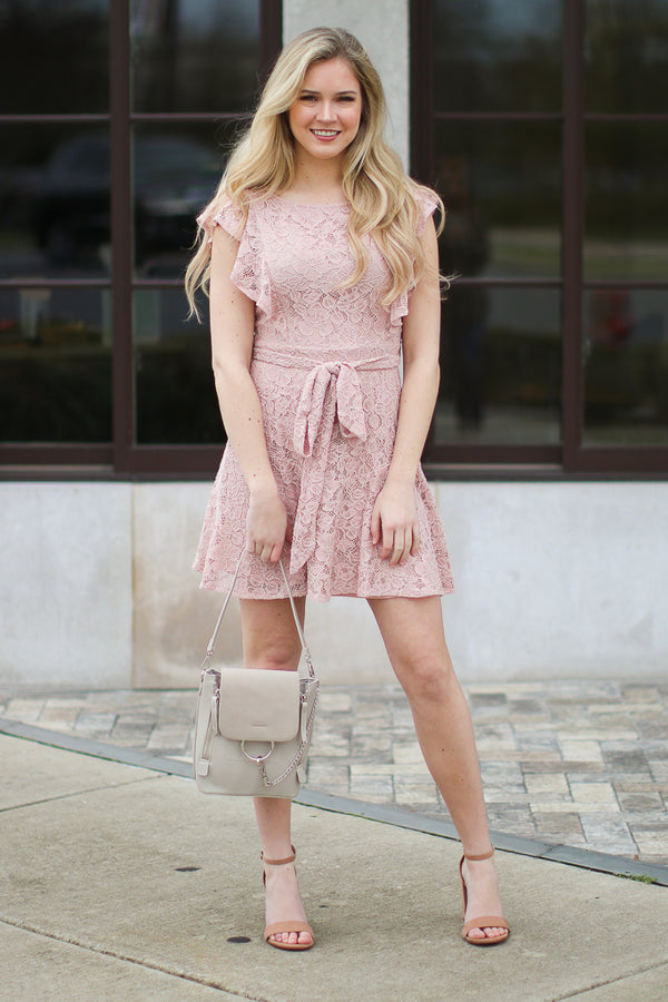 S / Blush What Dreams are Made of Lace Dress - FINAL SALE - Madison + Mallory