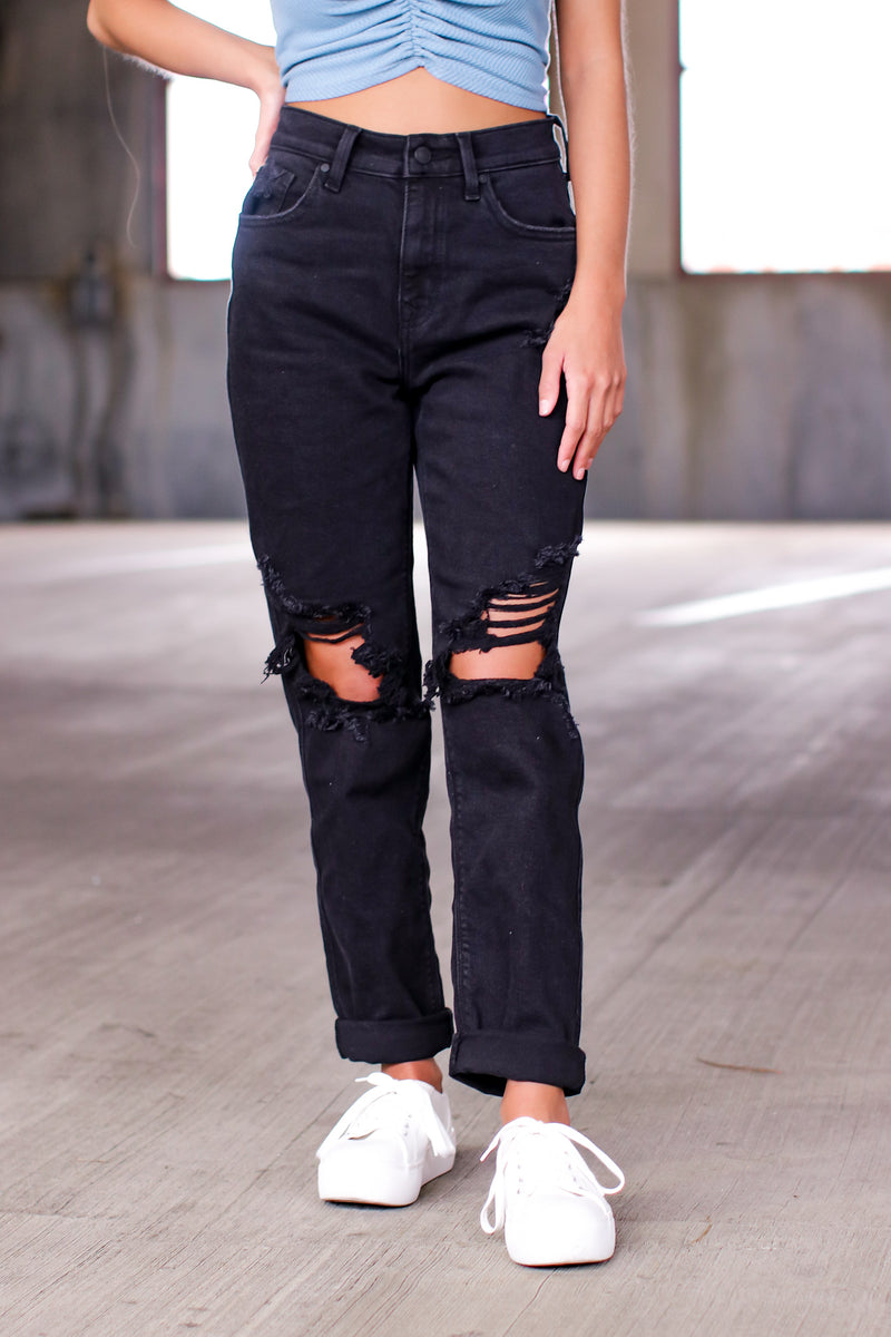 0 / Black Plot Thickens Distressed Boyfriend Jeans - Madison and Mallory