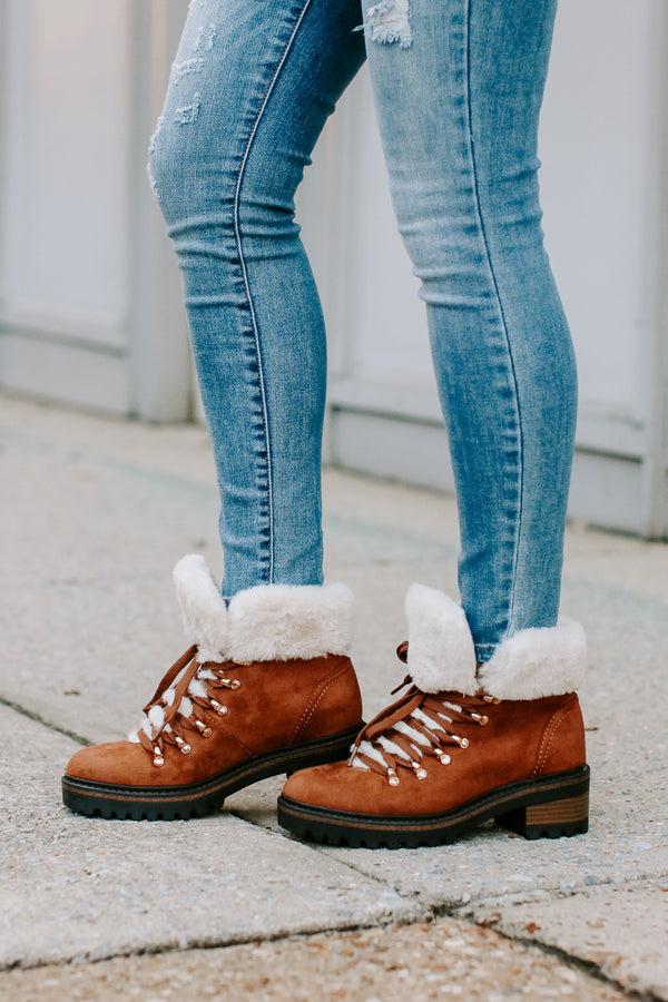 6 / Brown Edison Faux Fur Cuff Boots - FINAL SALE - Madison + Mallory