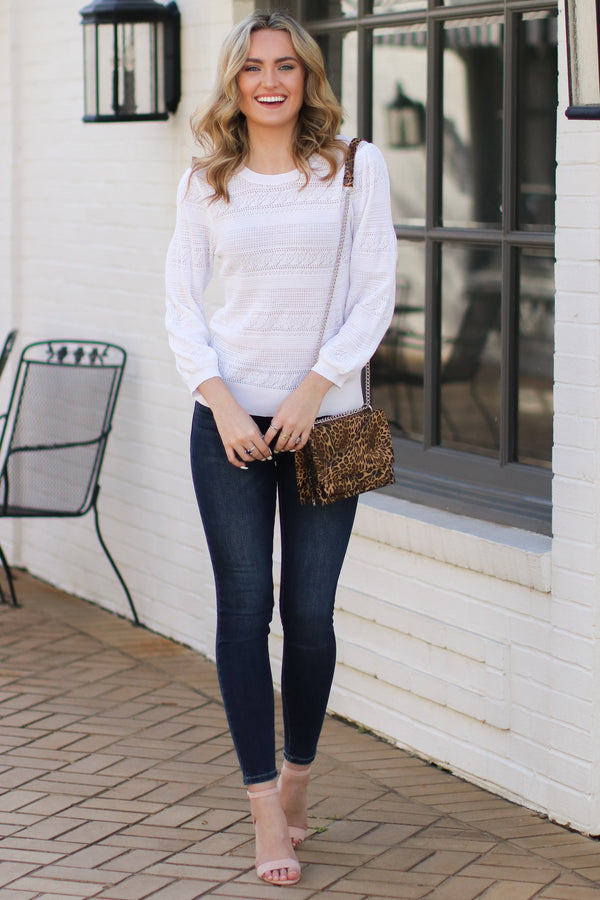 Merrill Puff Sleeve Knit Top - White - Madison + Mallory