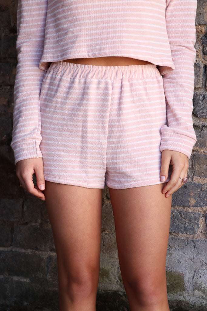 Striped Soft Knit Shorts - Madison + Mallory