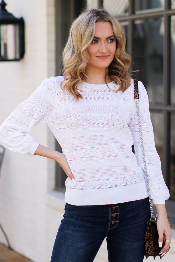 White / S Merrill Puff Sleeve Knit Top - White - FINAL SALE - Madison and Mallory