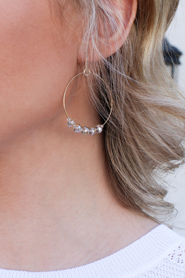 Clear Take it Along Beaded Charm Circle Earrings - Madison + Mallory