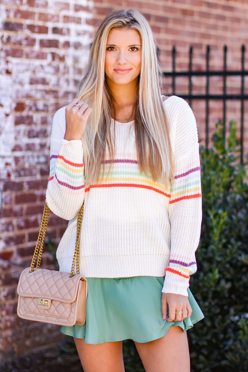 S / Ivory What a World Rainbow Knit Sweater - Madison and Mallory