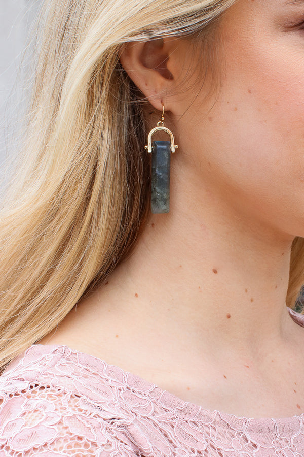 OS / Gray Sonoma Valley Stone Drop Earrings - Madison + Mallory