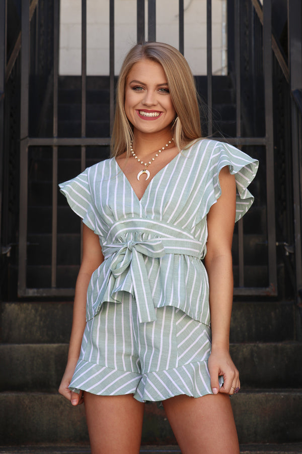 S / Sage Ruffle Stripe Tie Front Top - Madison + Mallory