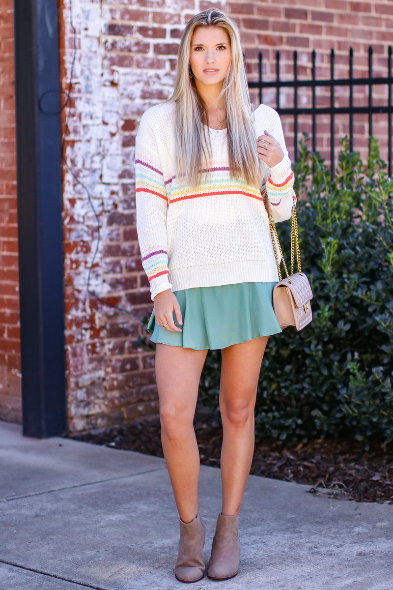What a World Rainbow Knit Sweater - Madison and Mallory