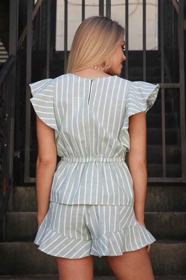 Ruffle Stripe Tie Front Top - Madison + Mallory