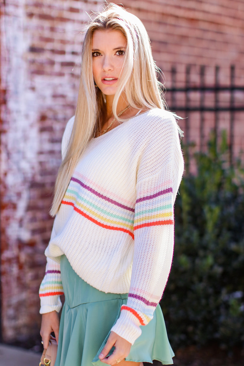 What a World Rainbow Knit Sweater - FINAL SALE - Madison and Mallory