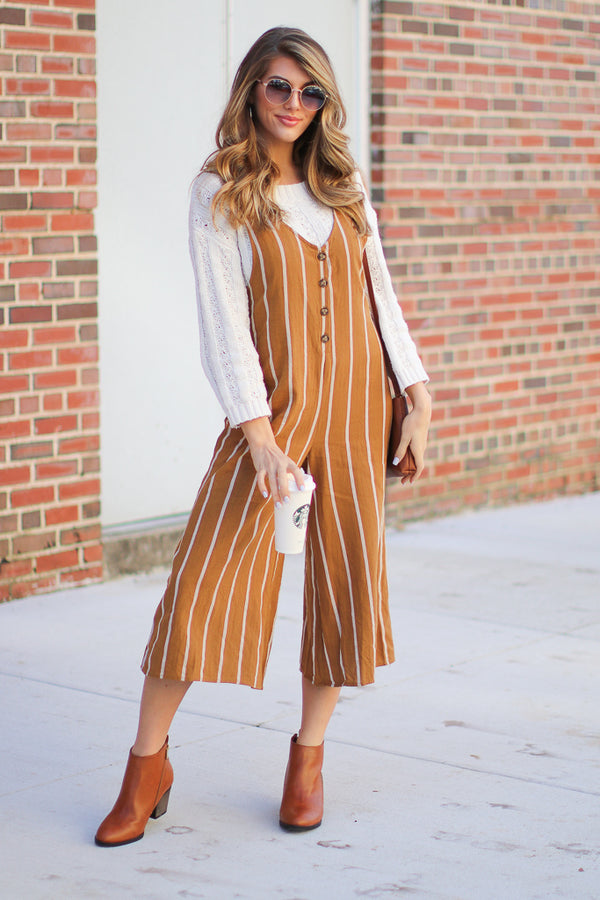 S / Mustard Looking My Way Striped Jumpsuit - Madison + Mallory