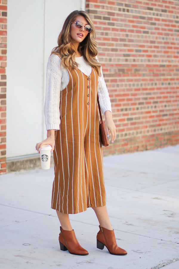 Looking My Way Striped Jumpsuit - Madison + Mallory
