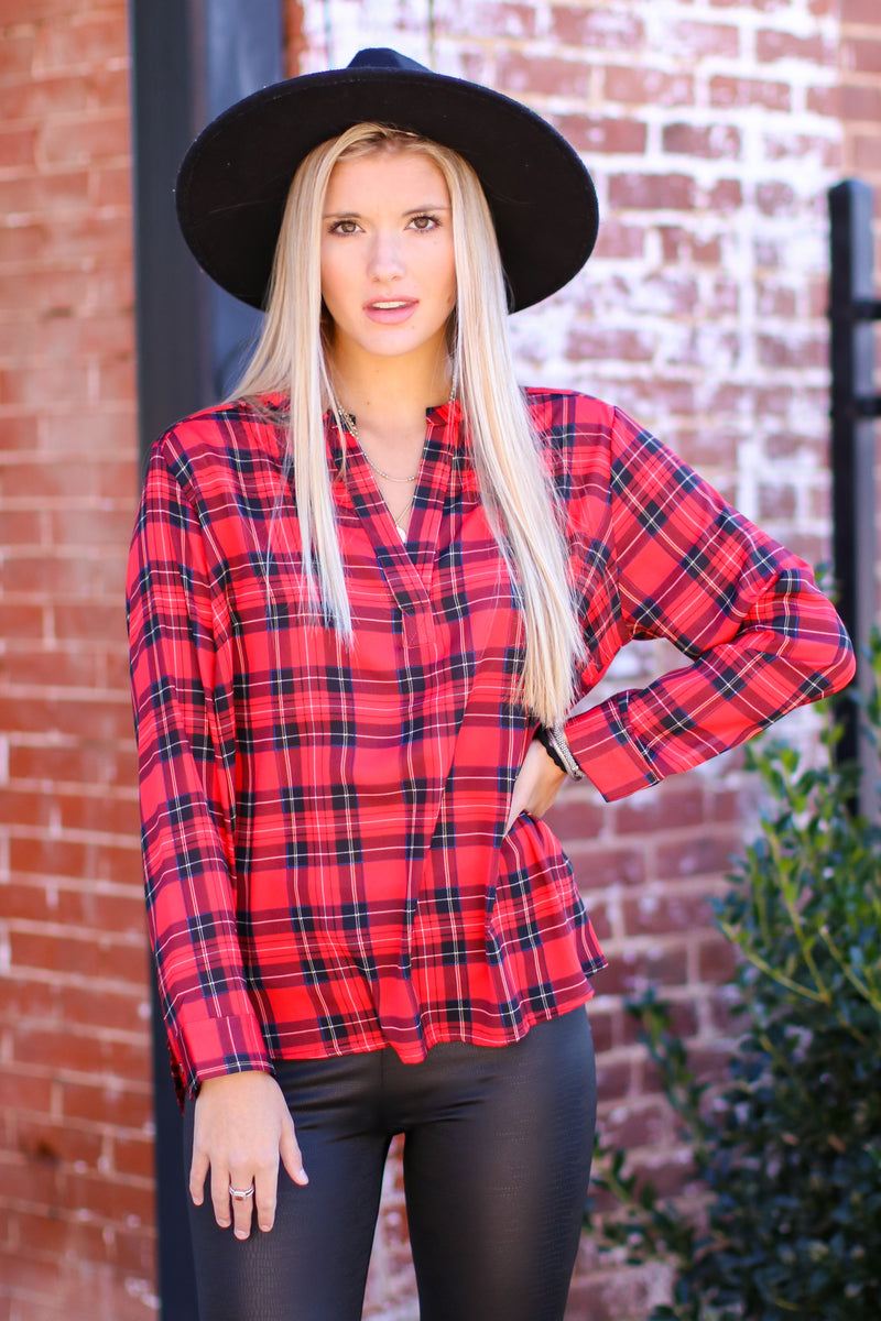 S / Red Through Central Park Plaid Top - Madison and Mallory