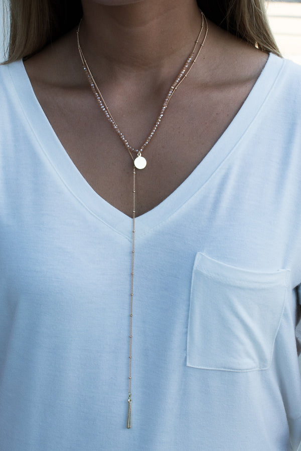 OS / Gold Still the One Drop Layered Necklace - Madison + Mallory