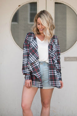 S / Gray Tartan Plaid Draped Shirt Jacket - Madison + Mallory