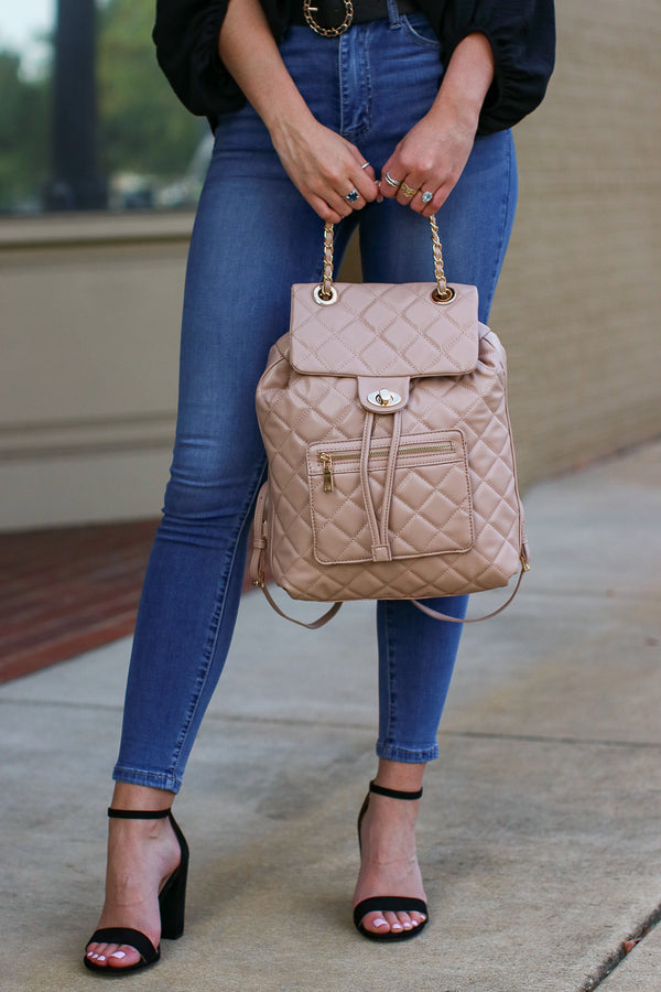 Streamline Quilted Chain Backpack - Natural - Madison + Mallory