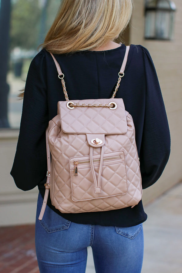 Natural Streamline Quilted Chain Backpack - Natural - Madison + Mallory