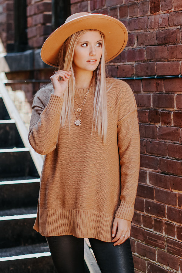 S / Camel Softly Spoken Drop Shoulder Sweater - Madison and Mallory