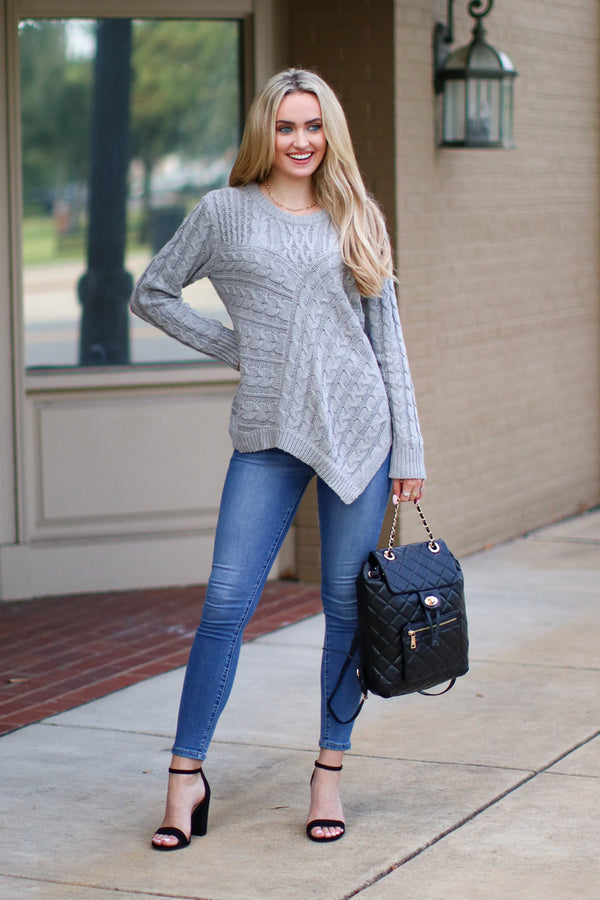 Over Your Head Cable Knit Sweater - Madison + Mallory