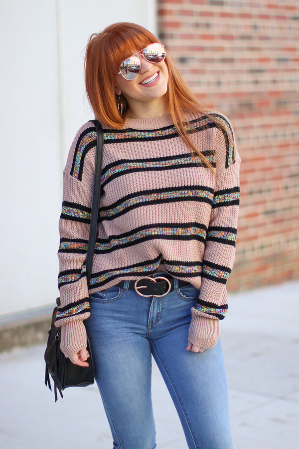 S / Taupe Feeling so Good Striped Sweater - Madison + Mallory