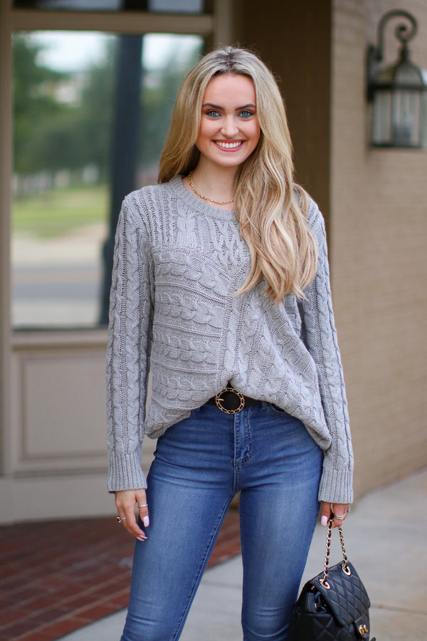 SM / Gray Over Your Head Cable Knit Sweater - Madison + Mallory