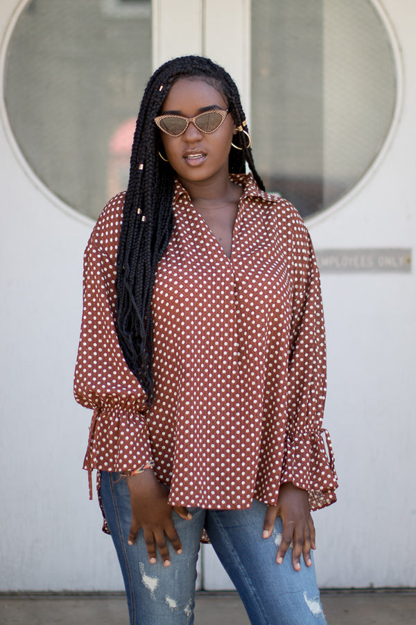 S / Brown Polka Dot Perfection Top | CURVE - Madison + Mallory