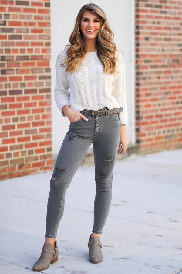 Clayton Distressed Skinny jeans - Madison + Mallory