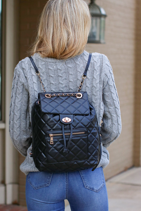 Black Streamline Quilted Chain Backpack - Black - Madison + Mallory