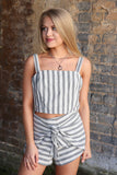 S / Black Waist Tie Striped Shorts - Madison + Mallory