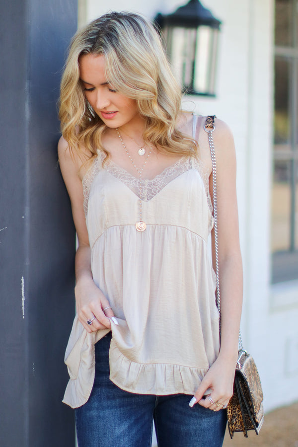 Shell / S Never Wait Satin Lace Babydoll Tank - Shell - Madison + Mallory