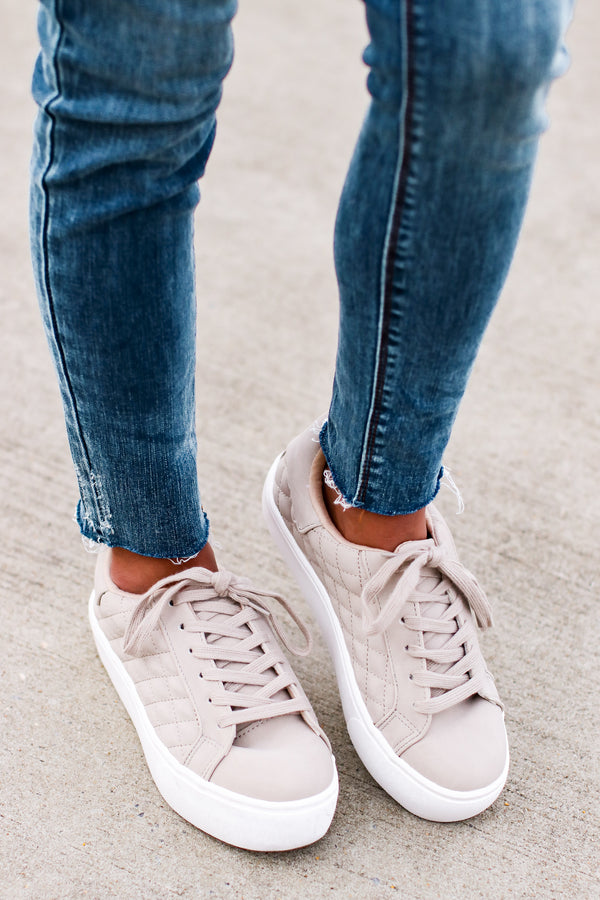Sand / 5.5 Dylann Quilted Lace Up Sneakers - Madison and Mallory