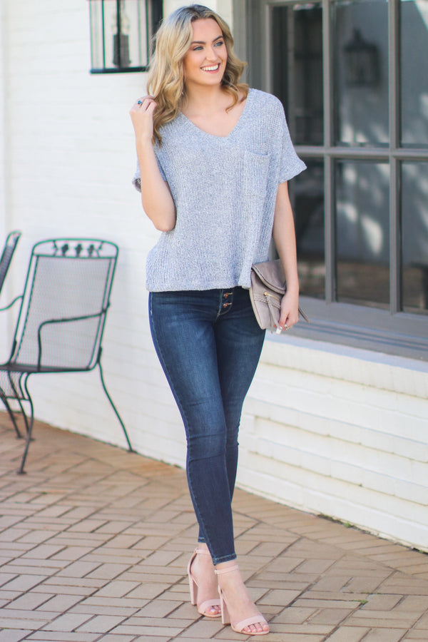 Jannah V-Neck Knit Top - Heather Gray - Madison + Mallory
