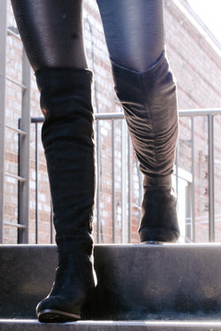 Black / 5.5 Caprice Faux Suede Over the Knee Boots - Madison and Mallory