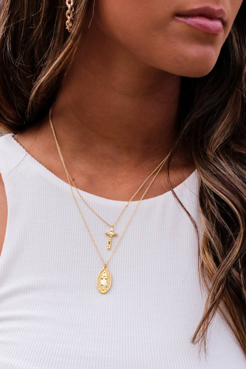 Gold Carolla Cross Layered Necklace - Madison and Mallory