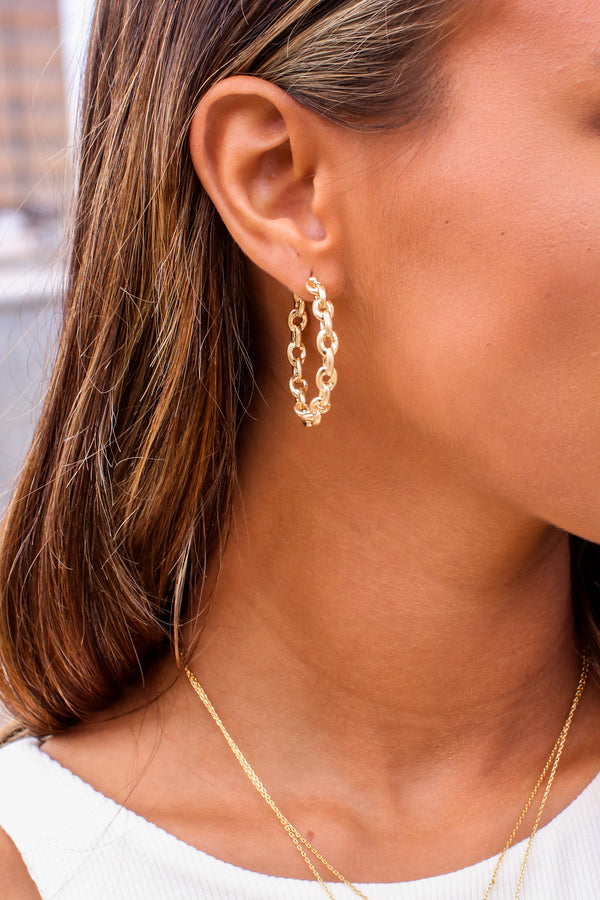 Gold Brya Chain Hoop Earrings - Madison and Mallory