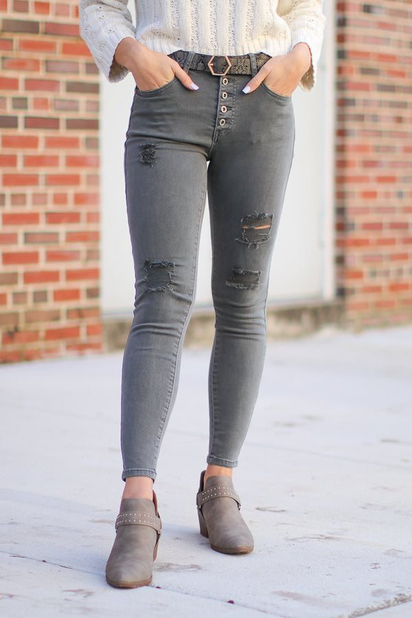 S / Gray Clayton Distressed Skinny jeans - Madison + Mallory