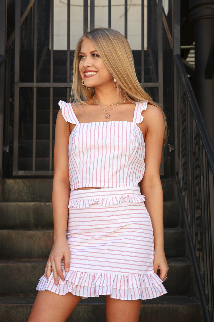 S / Red Striped Ruffle Skirt - FINAL SALE - Madison and Mallory