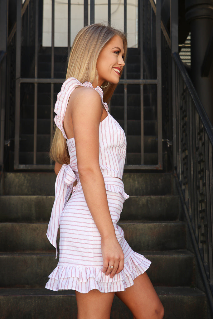 Striped Ruffle Trim Tie Back Tank Top - Madison + Mallory