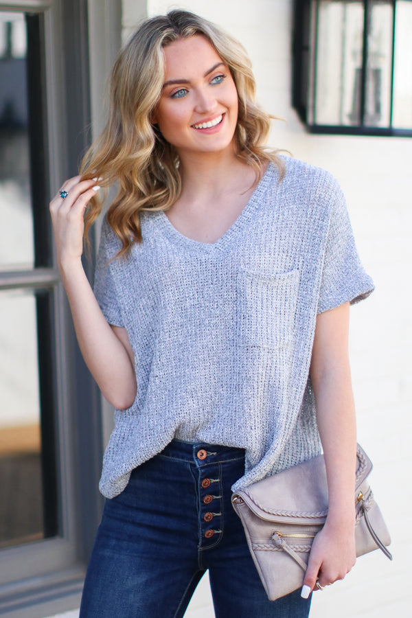 Heather Gray / S Jannah V-Neck Knit Top - Heather Gray - Madison + Mallory