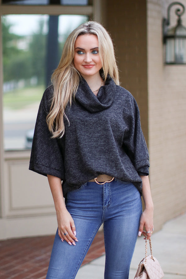 Slow Songs Textured Knit Cowl Neck Sweater - Madison + Mallory