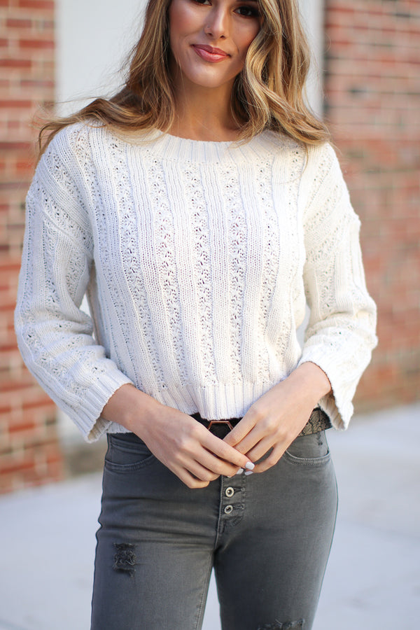 S / Cream Laurel Sweater - Madison + Mallory