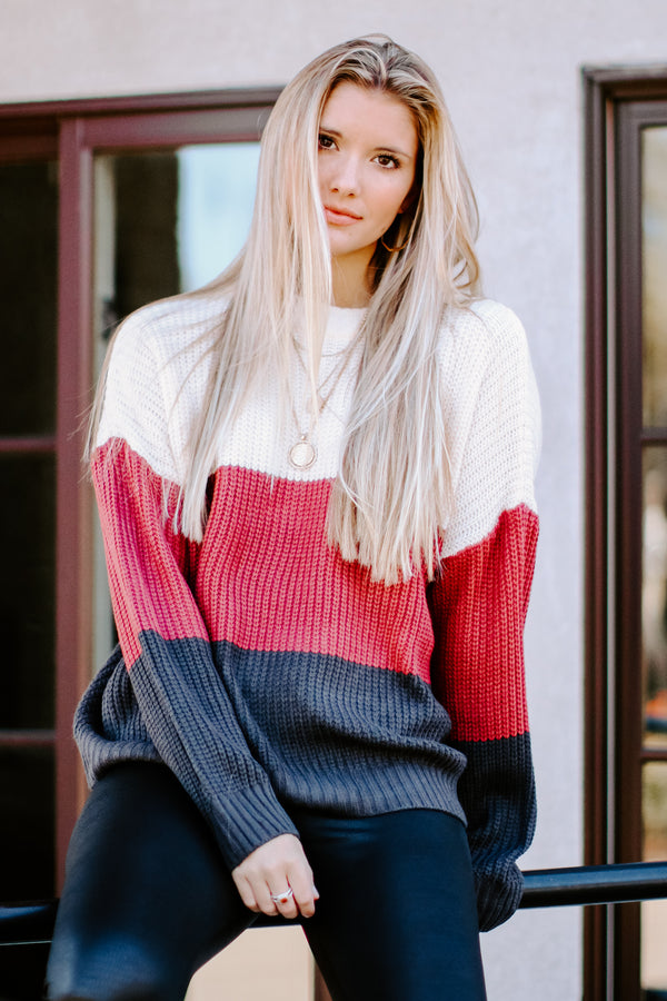 S / Brick There for You Color Block Sweater - Madison and Mallory