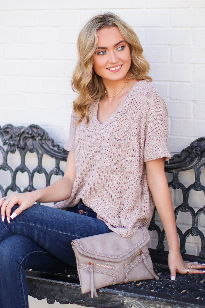 Jannah V-Neck Knit Top - Latte - Madison + Mallory