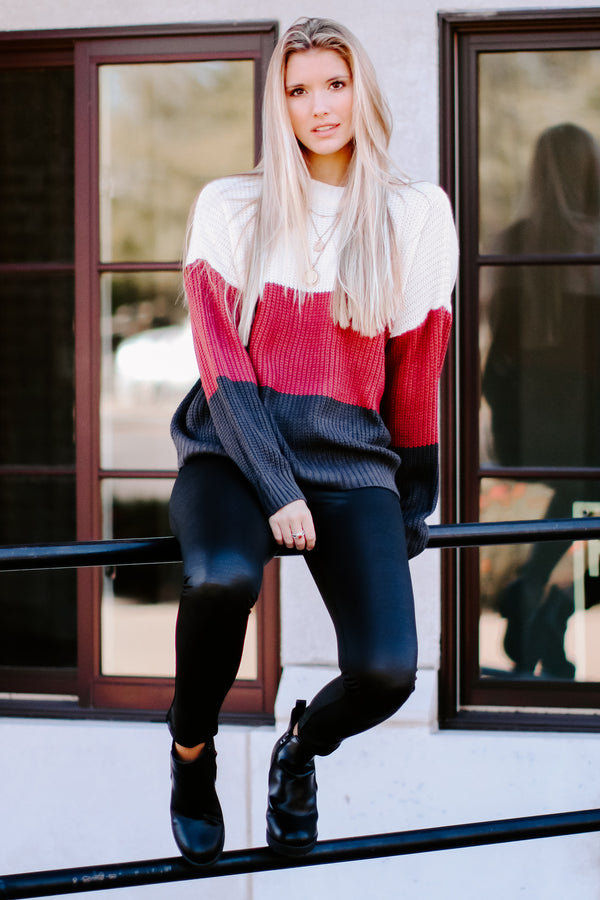 There for You Color Block Sweater - Madison and Mallory